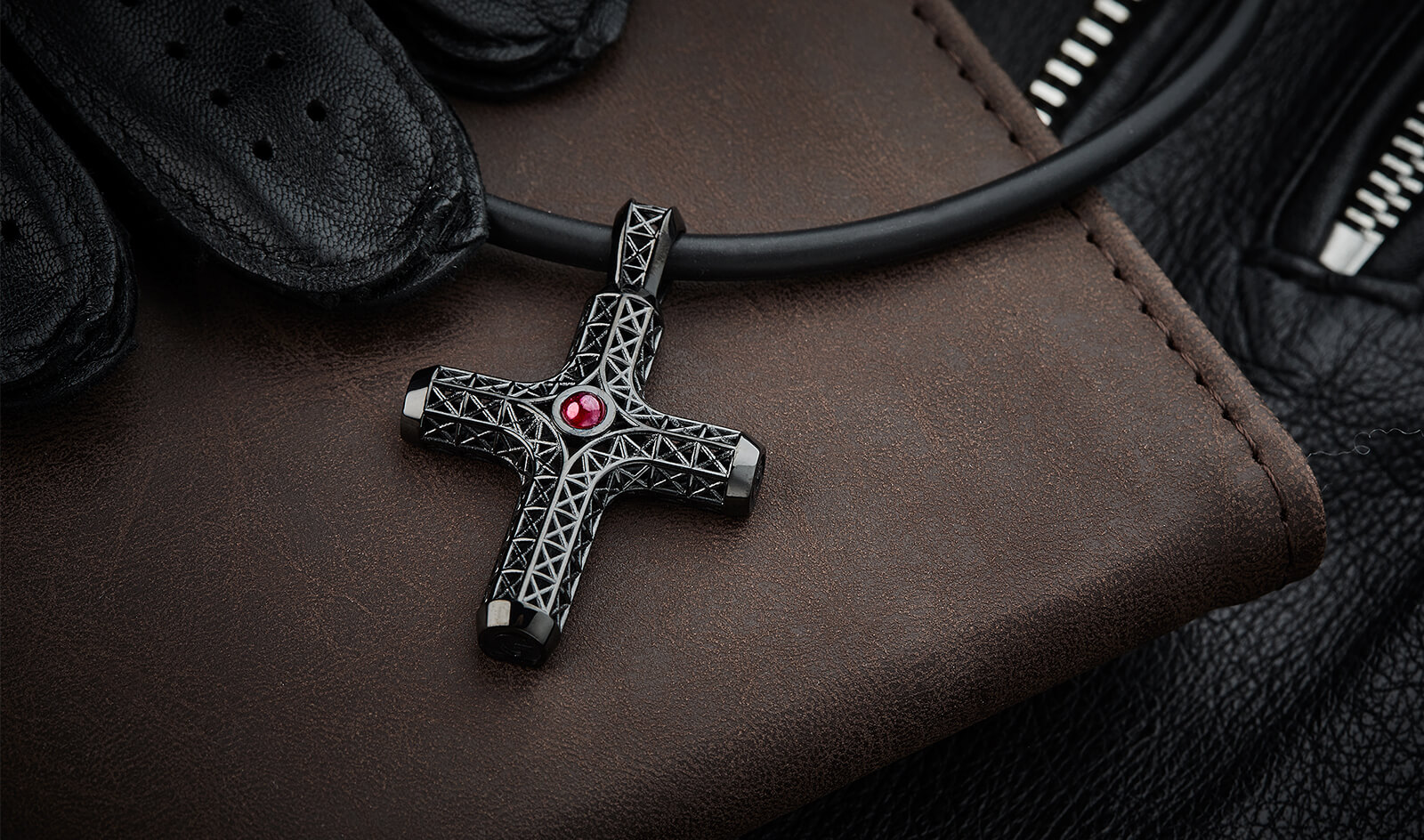 FILIGREE CROSS NECKLACE, ALL BLACK, RUBY-EDITION